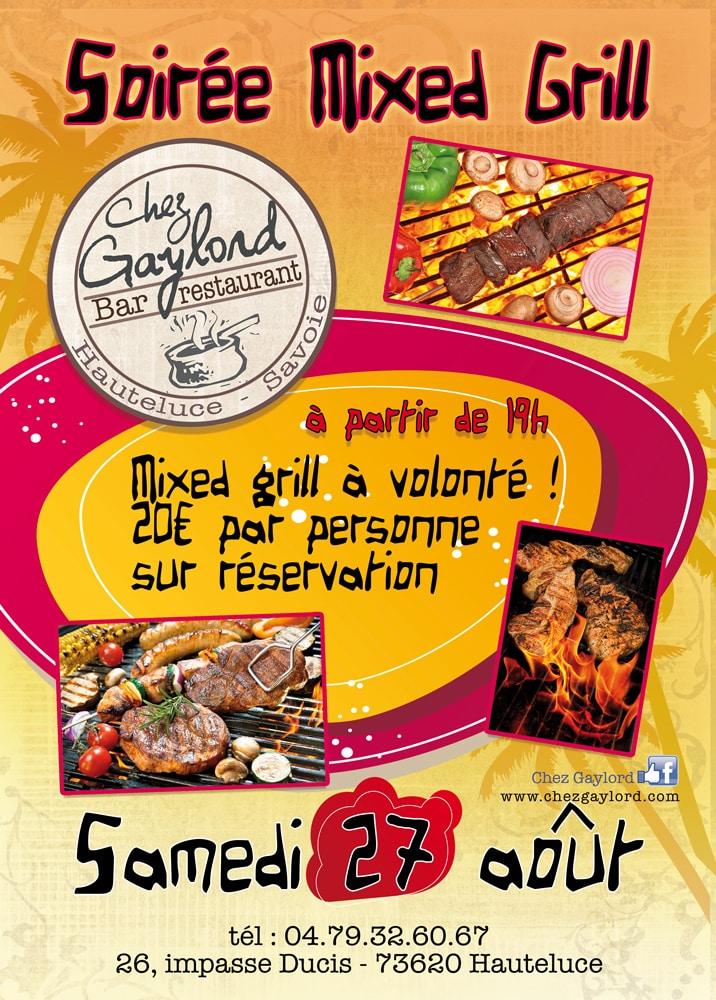 Affiche mixed grill, soirée grillade à Hauteluce