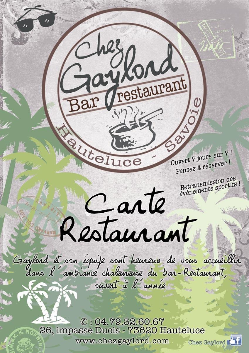 Carte restaurant chez Gaylord été 2019