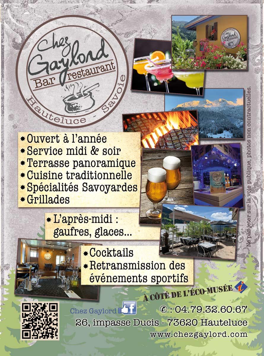 Flyer du bar restaurant Chez Gaylord, restaurant de Hauteluce