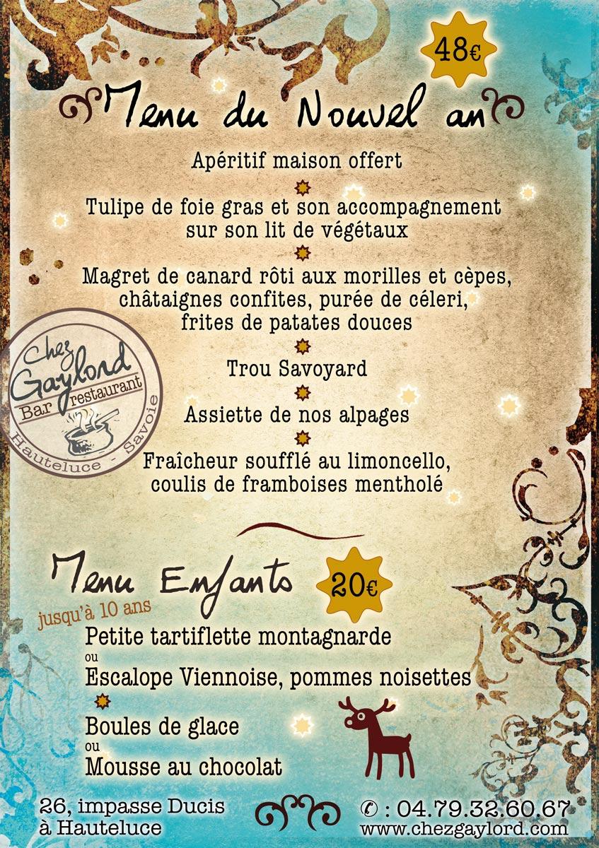 Menu du nouvel an du restaurant Chez Gaylord à Hauteluce